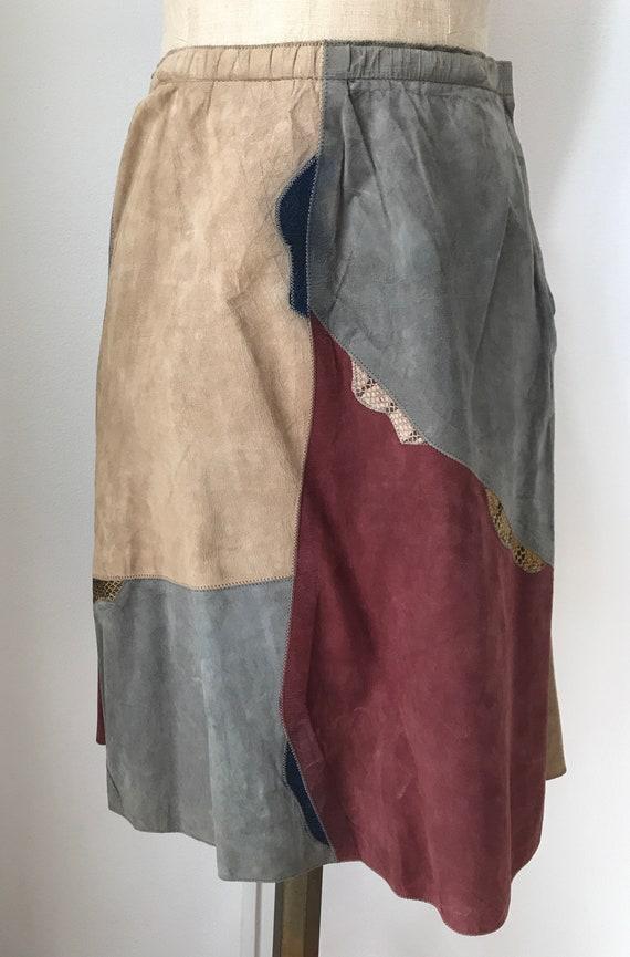 Vintage suède skirt | 70's patchwork skirt | Suède with snakeskin skirt | size EUR38 UK10 US6