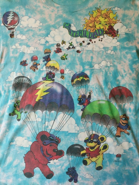 Print Balloons Hot Bear 90s The Air 1993 Dead Vintage Grateful Skydiving Songs Grateful Air Parachute Liquid Blue Shirt Fill Dead Xwg1O1