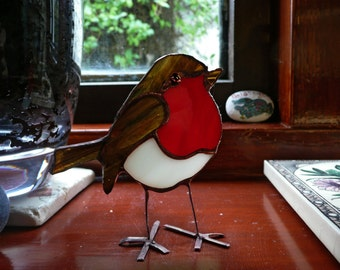 3D Stained Glass Robin Sun Catcher