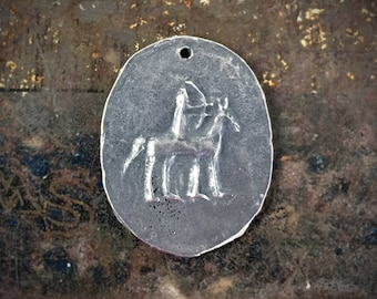 Rider on Horse Pendant, Handcrafted Primitive Jewelry Making Components No. 27PD