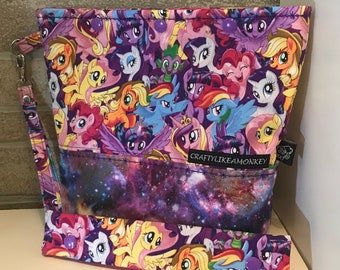 My little pony inspired snap top project bag with flat bottom and knitting needle cozy - ready to ship