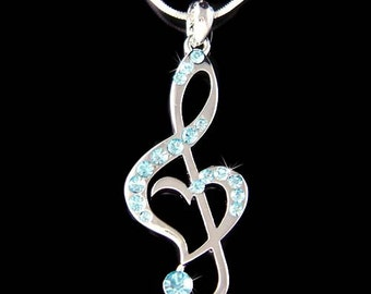 Baby Blue Swarovski Crystal TREBLE G CLEF Love Music Musical Note Heart Charm Chain Necklace Jewelry Best Friends Musican Christmas Gift New