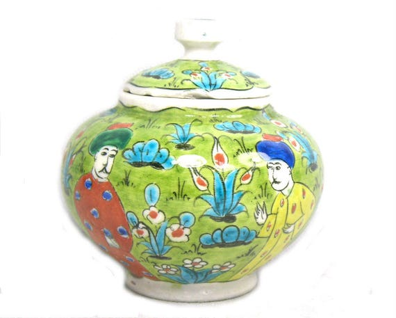 Vintage Green Turkish Jar Decorated with Figures