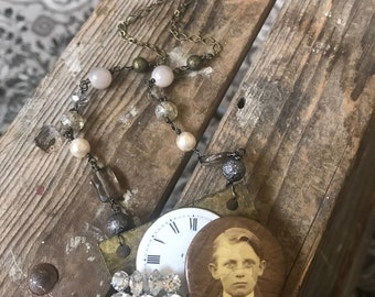 Remembering John L. Photo Portrait Watch Face Rhinestones Assemblage Necklace