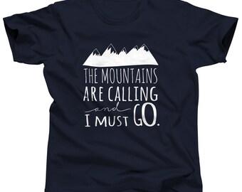 Mountains Are Calling - Sport Shirt - Summer Shirt - Outdoor Shirts - Camp Shirts - Hiking Shirts - Mountain Shirts - Hiking Apparel