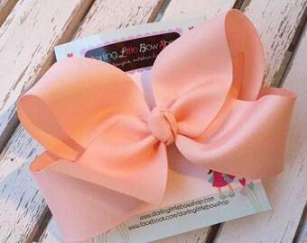 """Peach Bow -- Peach Hairbow, peach hair bow -- beautiful boutique bow made with peach ribbon -- choose 3"""" 4"""" 5"""" or 6"""""""