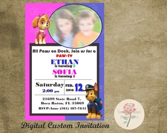 Paw Patrol Shared Custom Children's Birthday Party Digital Invitation, PERSONALIZED, Birthday Printable Invitation, Nick Jr