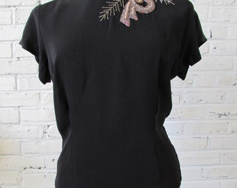 Vintage 1940s Black Crepe Button-Back Blouse with Beaded and Embroidered Neckline, size L