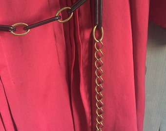 Vintage Retro Mod Belt Gold Chain And Black One Size Fits Most