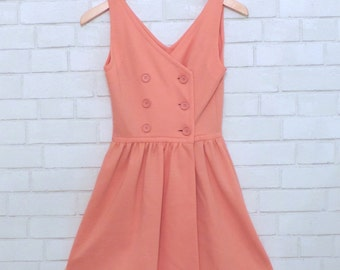 Vintage Fit and Flare Pink Button Up Dress