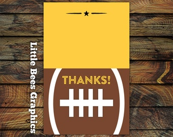Football Thank you Cards, Tailgate Thank yous, folded thank you card, sports thank yous, mvp, all star, 10 printed cards with envelopes