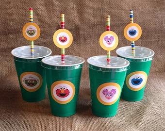 Sesame Street Party Cups - Elmo Abby Caddabby Cookie Monster Oscar the Grouch 1st Birthday 2nd Birthday 3rd Birthday Party -Set of 10 Cups