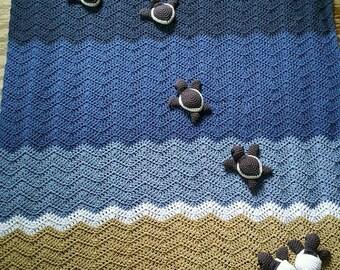 Crochet  Hatching Sea Turtle Ocean Blanket