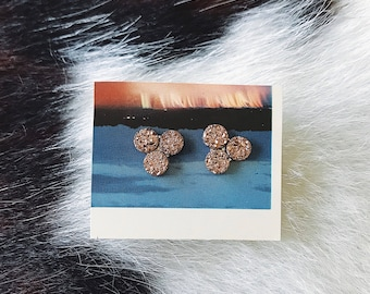 Triple Rose Colored Quartz Stud Earrings