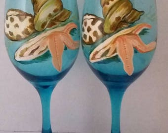 Set of 2 Hand Painted Sea Shells on Blue Glass Wine Glasses