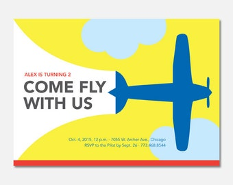 Airplane Birthday Party Invitation, Airplane Birthday Party, Custom Invitation, Printable Invitation, Flying Pinwheel