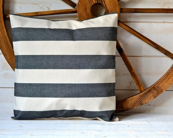BLACK  Striped pillow cover striped decorative pillow Eco friendly Gift Under 50 / beige home