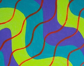 Cyan, violet, jaune et Orange acrylique peinture abstraite sur toile «série 9 XVII «Home Decor, Wall Art, Art moderne