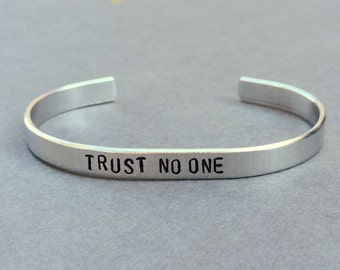 Trust No One X Files Mulder and Scully Hand Stamped Aluminum Bracelet
