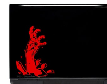 Zombie Hand Vinyl Laptop or Automotive Art FREE SHIPPING, walking dead zombie lover walkers zombie hand laptop sticker halloween graveyard