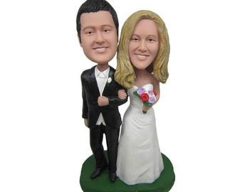 Custom Bride and Groom Cake Toppers  Custom wedding cake topper  Wedding cake topper  Wedding Figurine  Handsmade cake topper