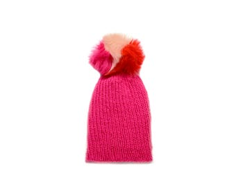 simple fitted beanie + fur pom | hot pink