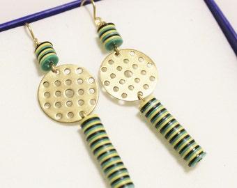 African Vulcanite Earrings, Ethnic Earrings, Brass Jewelry, Gifts Under 30, Green Yellow Bead Earrings