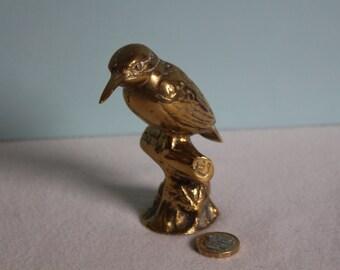 Vintage Solid Brass Kingfisher Statue ~ Brass Bird Figurine ~ Paperweight ~ 4 1/4 Inches