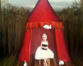 "Giclee Small Print of original painting ""Bush Rehearsal of the Travelling Circus"""