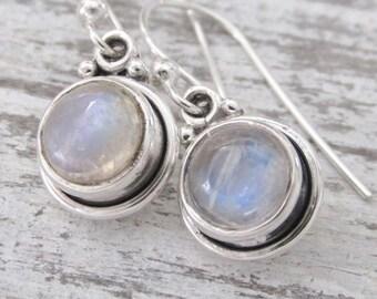 Moonstone Earrings, Rainbow Moonstone, Sterling Silver Moonstone, Round Dangling Moonstone Earrings, Moonstone Jewelry