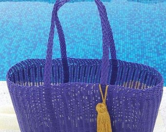 The Oxi! Large Plastic Beach Bag/Tote. Purple with Gold Tassel/Pom! Handmade in Guatemala. Perfect Pool, Beach or Basket Bag!