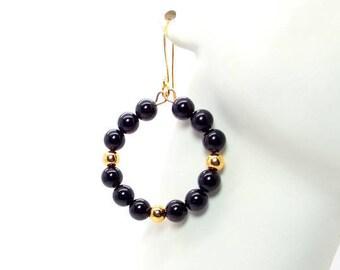 Black Onyx and Gold Beaded Hoop Earrings – Black and Gold Hoop Earrings – Black and Gold Earrings