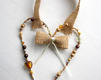 Fall decor / Fall door hanging / Wire heart autumn decoration for your home.