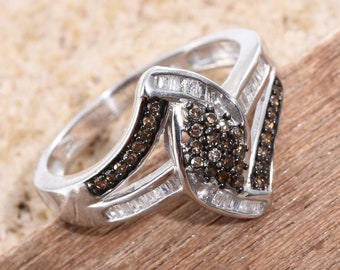 Champagne and White Diamond Ring - Size 9