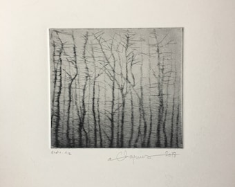 Original print of a forest, etching, drypoint