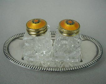 Salt and Pepper Shakers, Vintage Hroar Prydz Norway, Cut Crystal,  with Orange Enamel Sterling Lids, With Lovely Undertray, 3 Piece Set