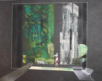 Vintage Avant Garde Theatre Stage Design Gouache Collage Painting
