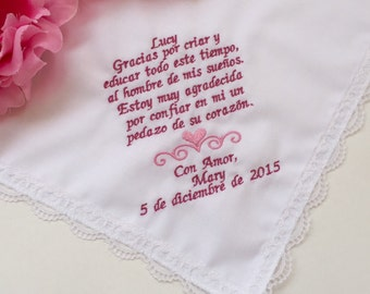 Spanish Version-Personalized Hanky for Mother In Law -Mother Of Groom- Custom Embroidered Hankie Handkerchief-Free Wedding Hankie Gift Box