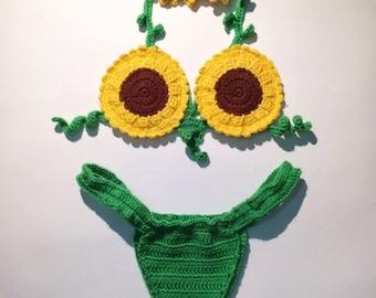 Sunflower Crochet Bralette Bikini Set