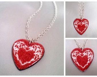 Valentine Heart Enamel Pendant Necklace, Heathered Red and White Glass Enamel, 16, 18 or 20 Inch Sterling Silver Chain