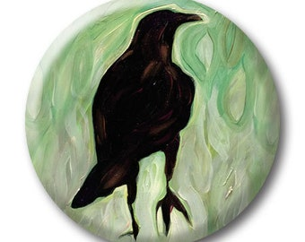 """Crow in the Grass - 1.25"""" pinback button - pin back badge - corvid - raven - blackbird oil painting"""