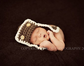 AVIATOR Hat Newborn Photo prop in BROWN Photo Shoot Baby all babies photography infant girl boy more colors available