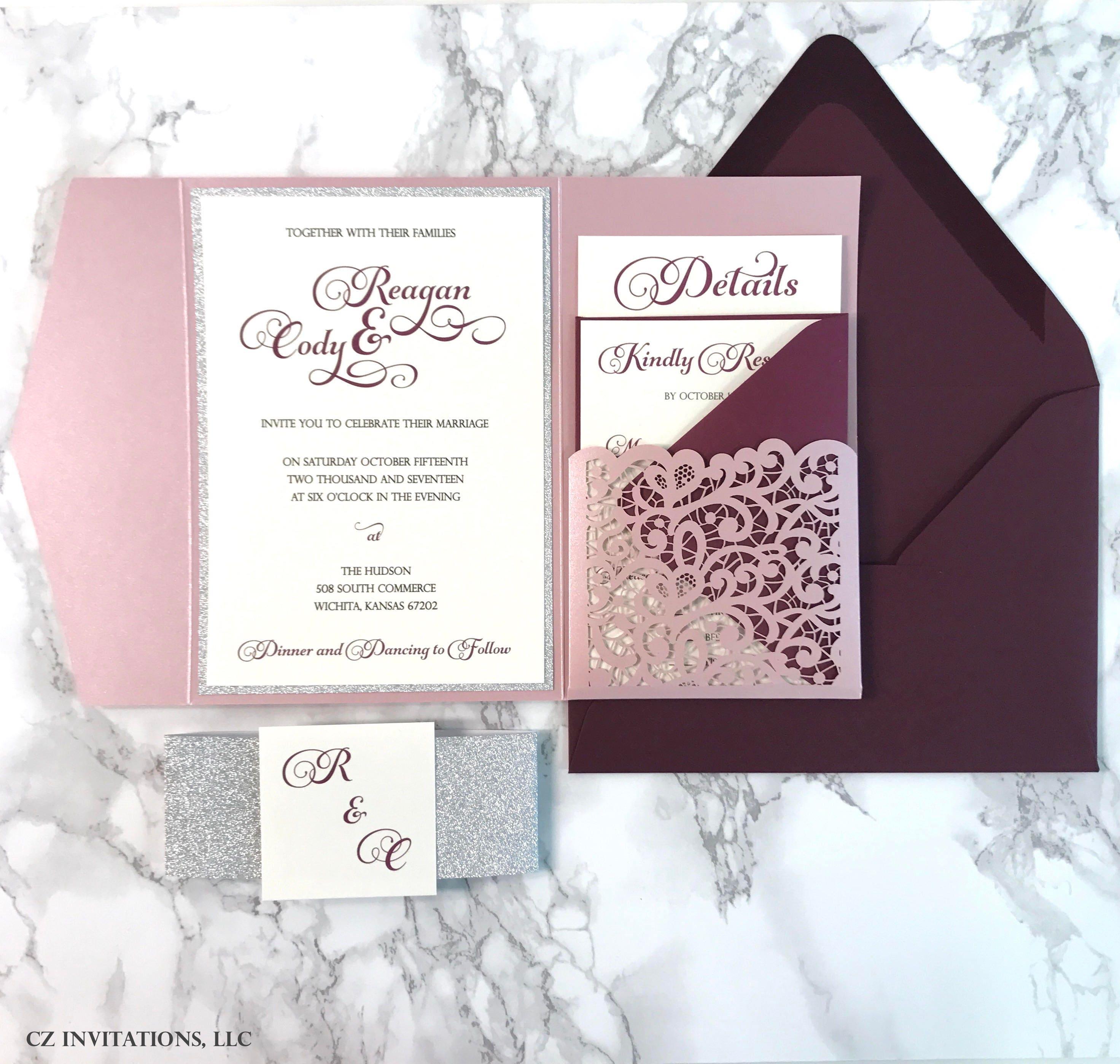 Laser Cut Pocket Wedding Invitation Misty Rose and Silver