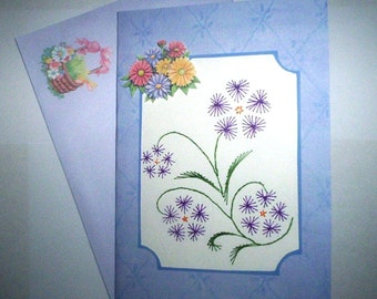 Stitched sweet violets birthday card with matching envelope.