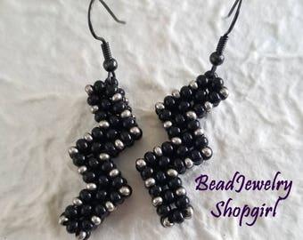 Black & Gunmetal ZigZag Earrings