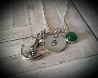 Custom Hand Stamped Nautical Anchor Necklace with Birthstone