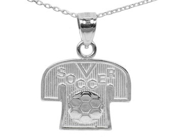 925 Sterling Silver Soccer Necklace