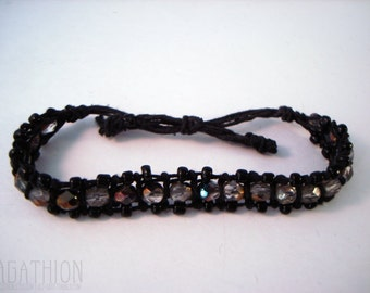 Czech Glass Beads Knotted Macrame Slide Cord Bracelet with Fire Polished Vitrail glass beads and black cotton cord