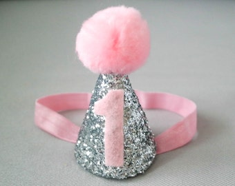 Silver and Pink First Birthday Hat, Birthday Hat, Party Hat, 1st Birthday Hat, Cake Smash Hat, Cone Hat, Pom Pom Hat, Baby Birthday Headband