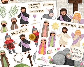 Religious Easter Printable for kids, Christian Easter Stickers DIY, Jesus Holy Week bulletin board, Spring Sunday School teacher